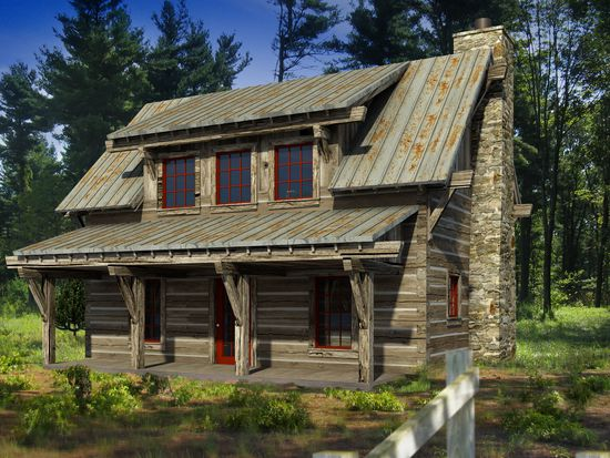 log cabin 3d architectural rendering