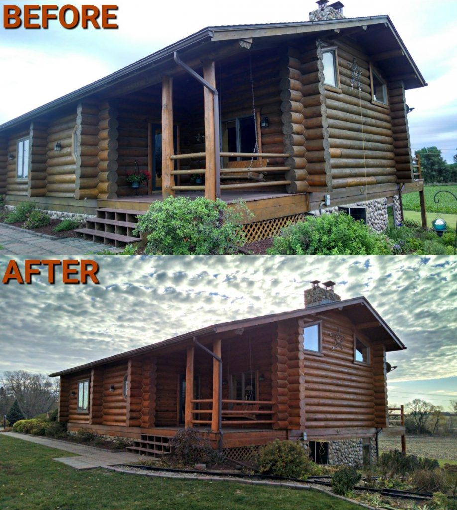 Log cabin restoration before and after
